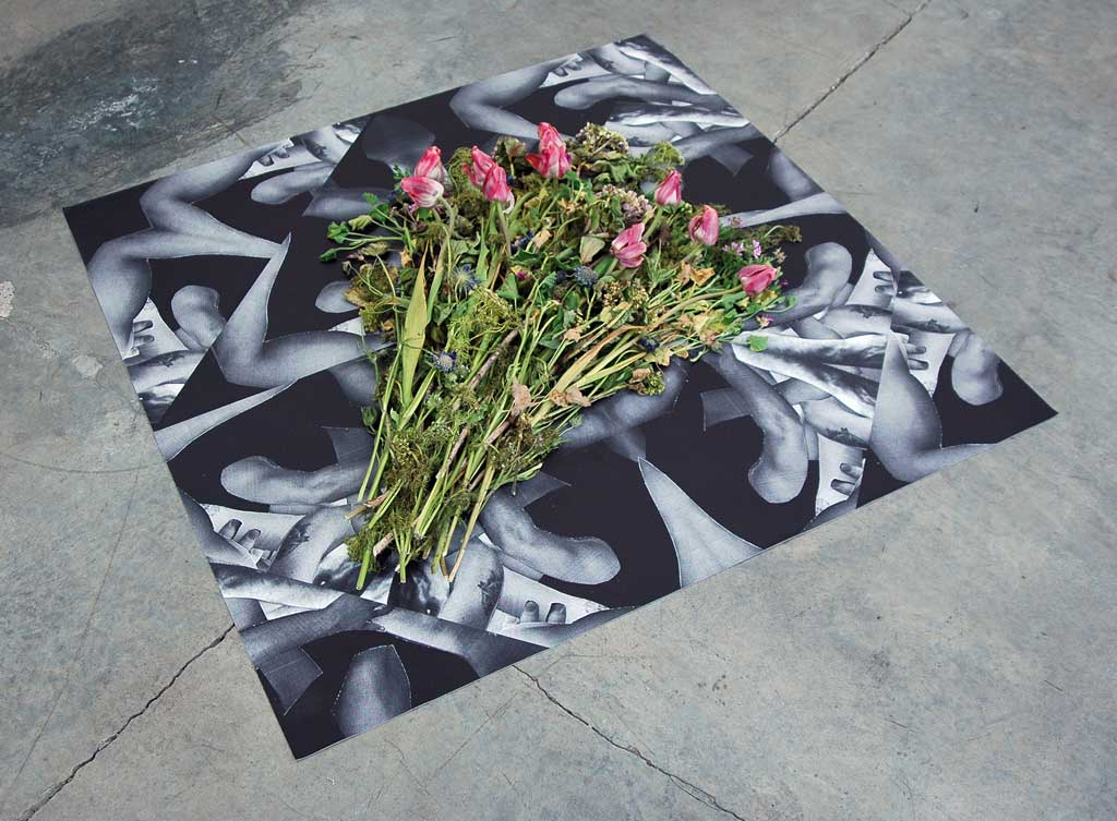 "Deric Carner, 'If I Die, vinyl print and flowers', 48"" x 48"", 2014. Image courtesy the artist."
