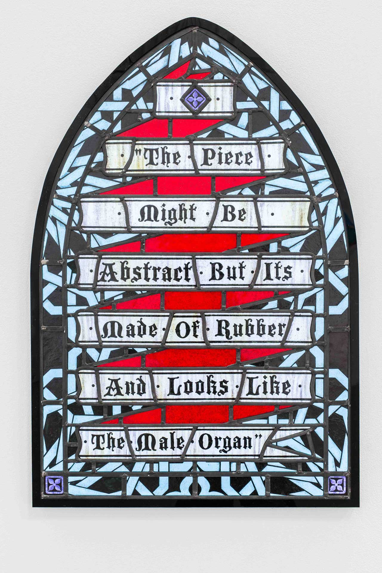 Hamra Abbas, 'The Piece Might Be Abstract, But its Made of Rubber and Looks Like the Male Organ', 2012, stained-glass, 90 x 60 cm, 35 3/8 x 23 5/8 in. Image courtesy Lawrie Shabibi, Dubai.