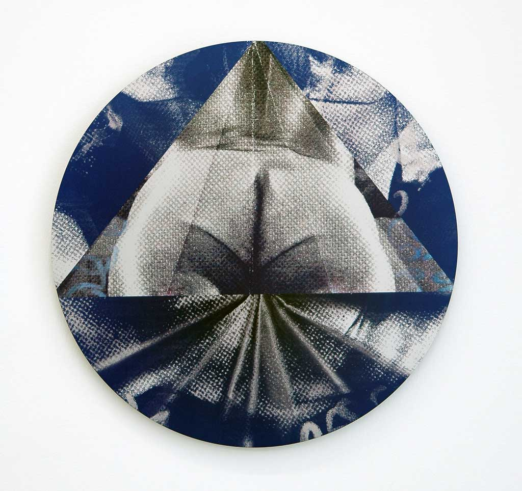 "Deric Carner, 'Sexual Outlaw', 2014, print on metal, 16"" diameter. Image courtesy the artist."
