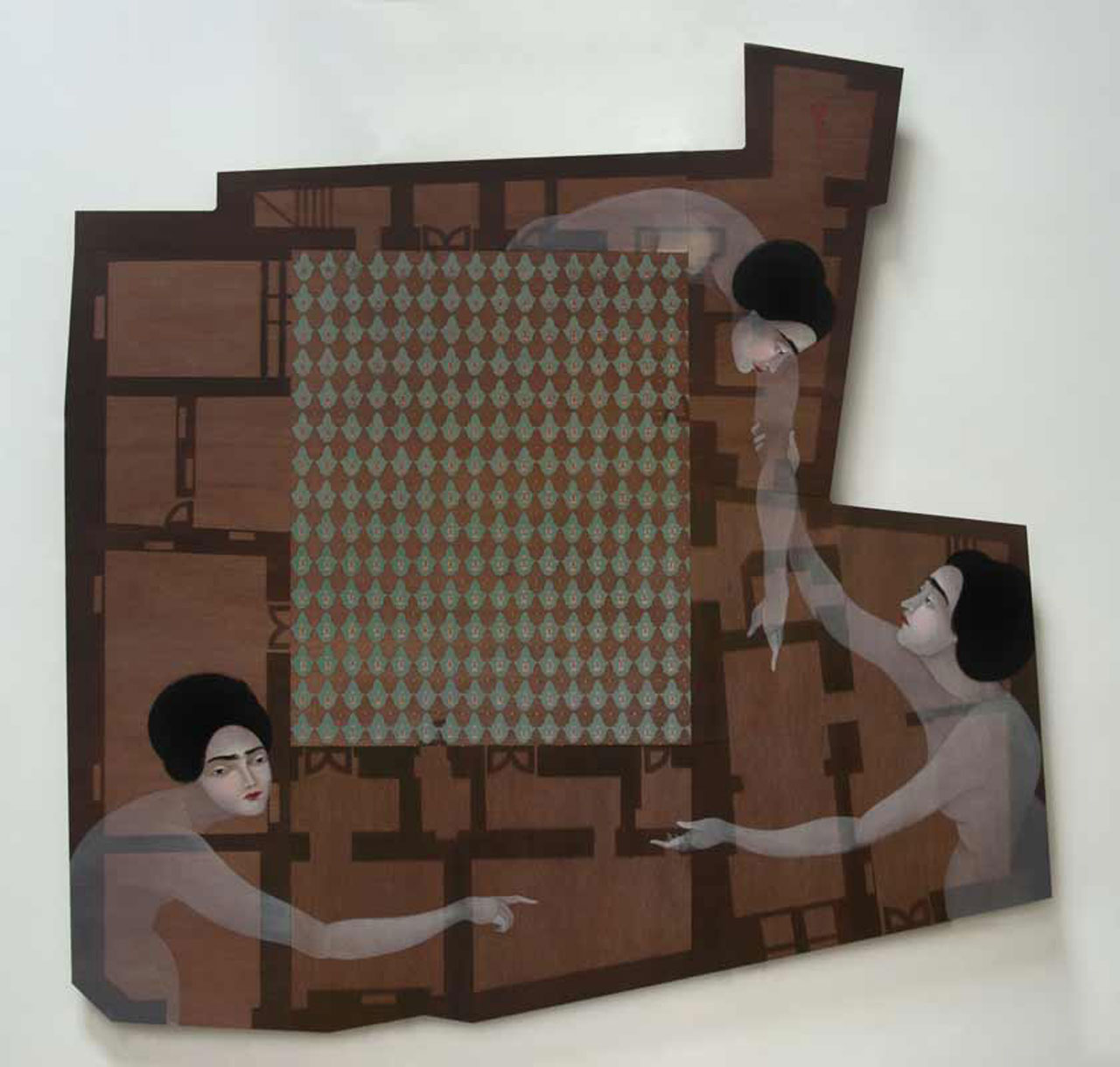 "Hayv Kahraman, 'House in Gaylani', 2014. Oil on modular panel, 86 ""x87"". Courtesy of the artist and The Third Line."