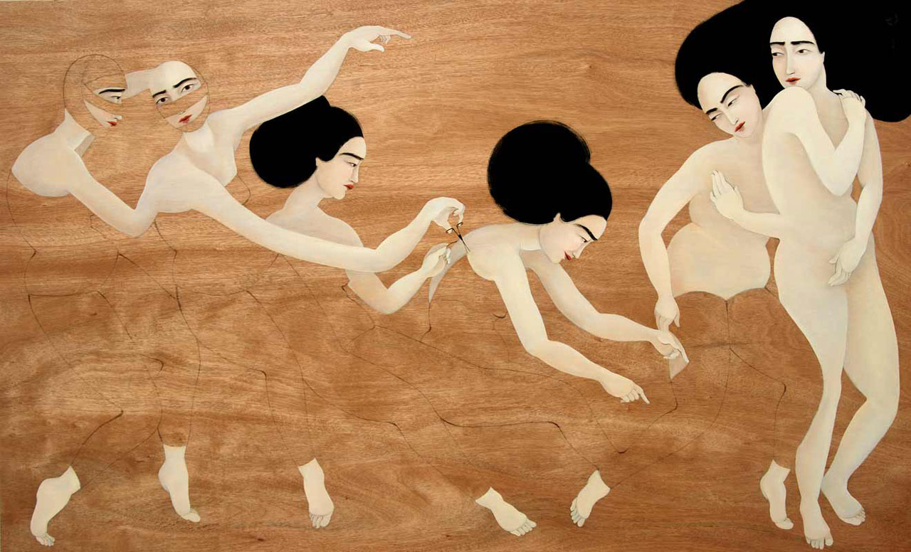 "Hayv Kahraman, 'Musical Chairs', 2010, 48"" x80"". Courtesy of the artist and The Third Line."