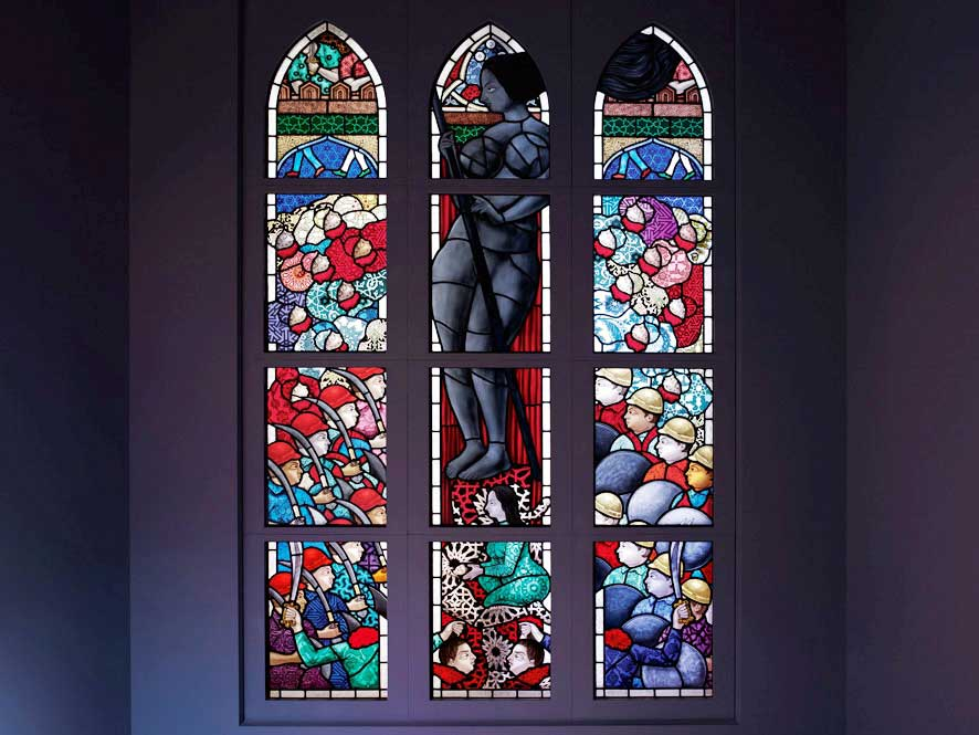 Hamra Abbas, 'Woman in Black', 2011, stained-glass window, a set of three panels, 256 x 152 cm, 100 3/4 x 59 7/8 in each. Image courtesy Lawrie Shabibi , Dubai.