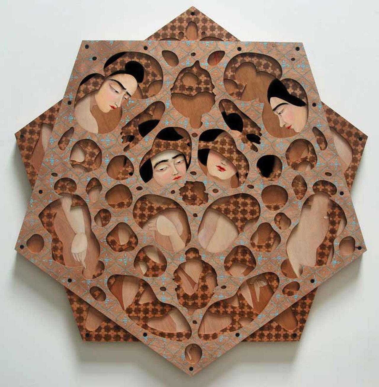 Hayv Kahraman, 'Decagram', 2013, Oil on panel, 127 cm Diameter. Courtesy the artist and The Third Line.