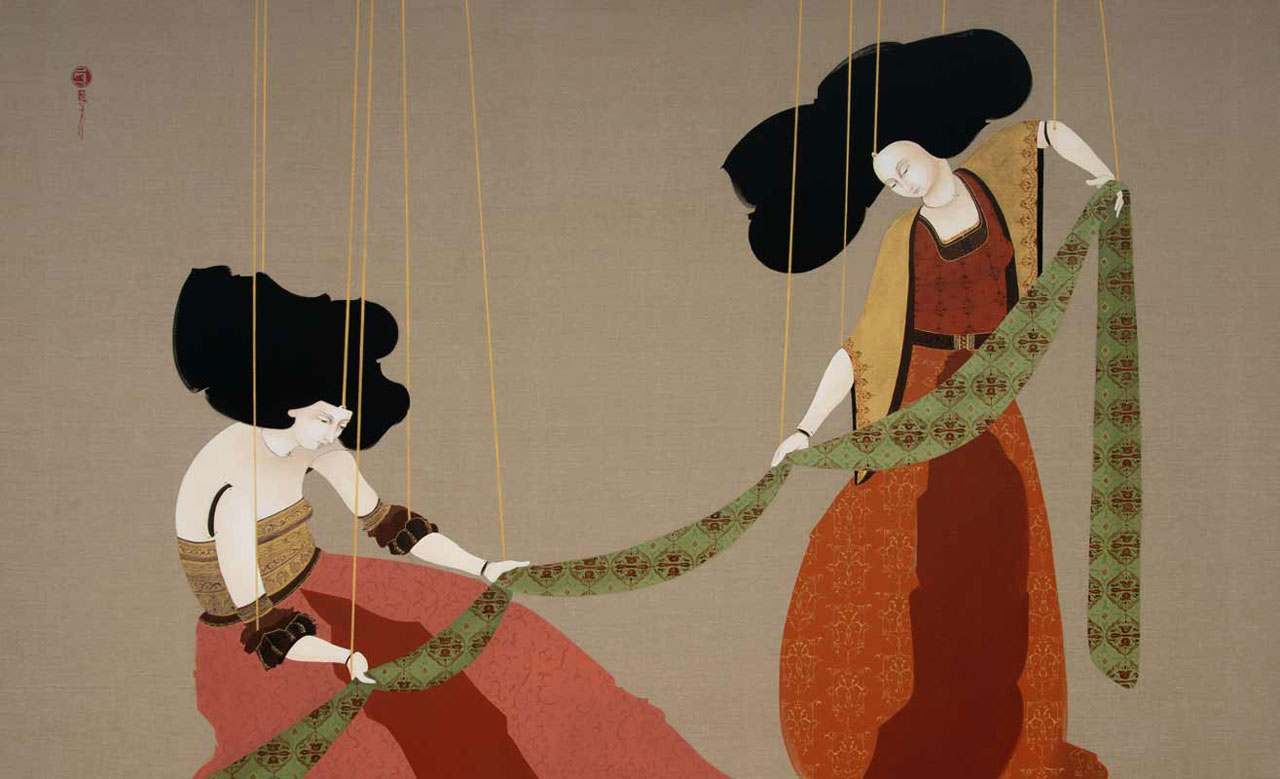 "Hayv Kahraman, 'Folding Sheet', 2009. Oil on linen, 52"" x 86"". Courtesy the artist and The Third Line."