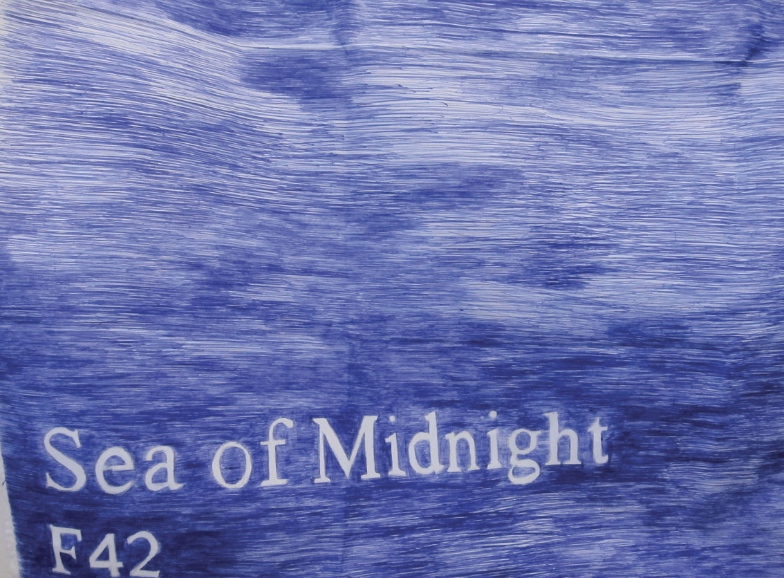 Keren Benbenisty, 'This is The Color of My Dreams' (detail), 2014, A Series of drawings, Ballpoint blue pen on Polyester blank ready-made white flags. Courtesy the artist.