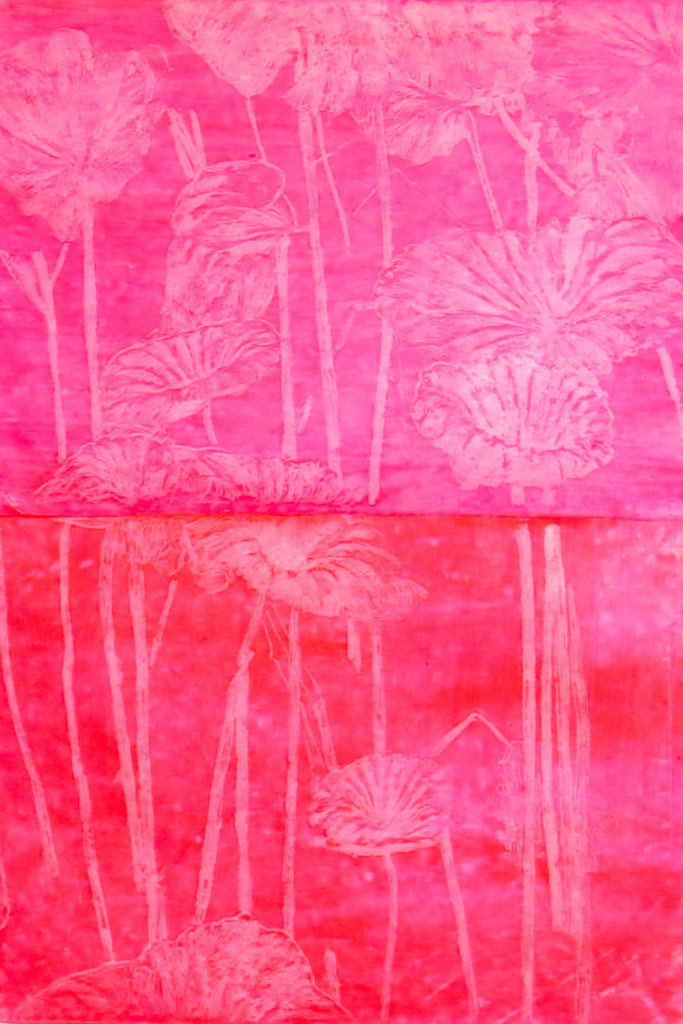 Marta Roberti, 'Nature is Artifactual' project for a multimedia installation, 2014, study of the Taipei lotus pond, drawing on paper, fluo oil pastel, 21 x 30 cm. Image courtesy the artist.