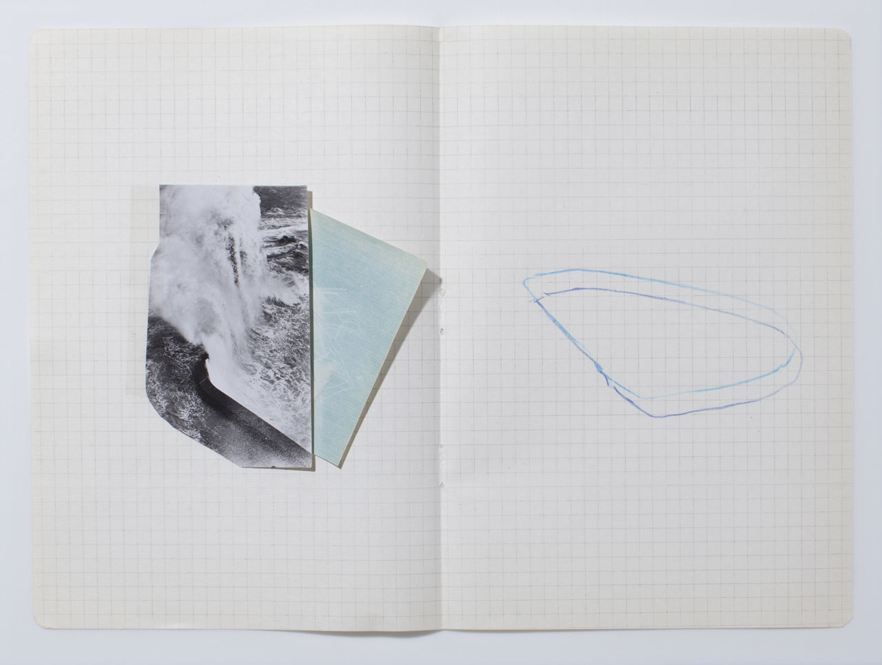 Harar Waheed, 'KH-21', Notes 26/32, 2014, Cut Photograph, Pencil on Paper. Image courtesy the artist.