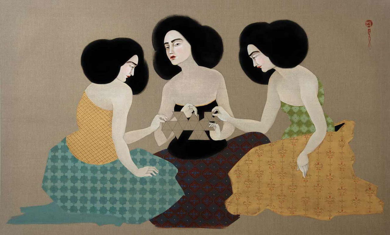 Hayv Kahraman, 'Dymaxion', 2012. Oil on Linen. Courtesy of the artist and The Third Line.