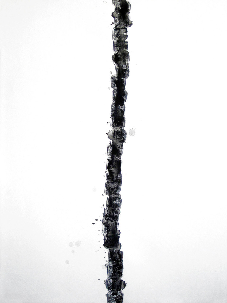 "Spider Salehi, 'Mohr II (prayer stone)', 2010-2011, mixed media on paper, 22"" x 30"". Image courtesy the artist."