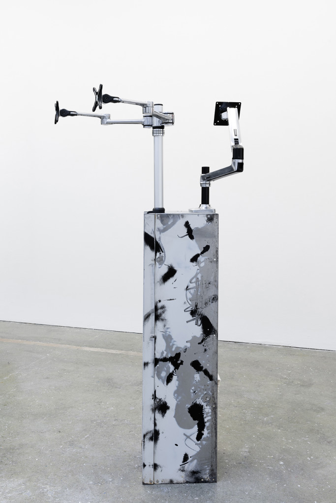 Marco Strappato, 'Apollo and Daphne', 2015, Customized locker, 2 desk mount LCD arms, jesmonite sheets, spray, paint, filler, Dimension variable, Unique. Image courtesy the artist and The Gallery Apart.