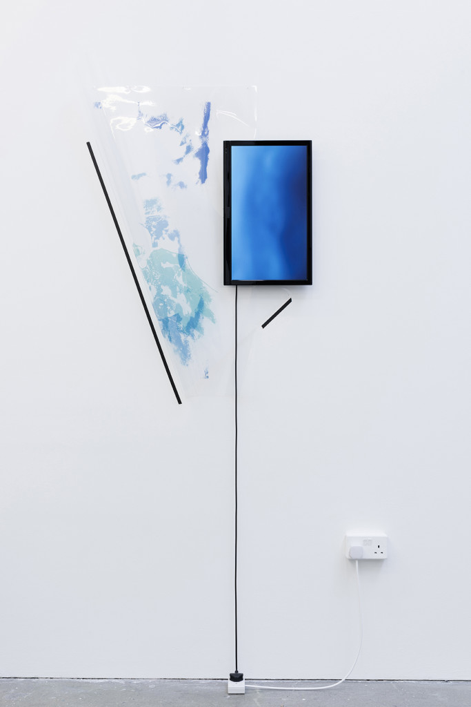 Marco Strappato, 'Untitled (Atmosphere/Chemistry/Ozone/Yearly concentration + Ocean/Chemistry/Dissolved Oxygen/5000 meters/Seasonal percentage).', 2015, Inkjet print on acetate, jpg projected on 22'' screen, cable, nails, tape, Dimension variable, Unique. Image courtesy The Gallery Apart.