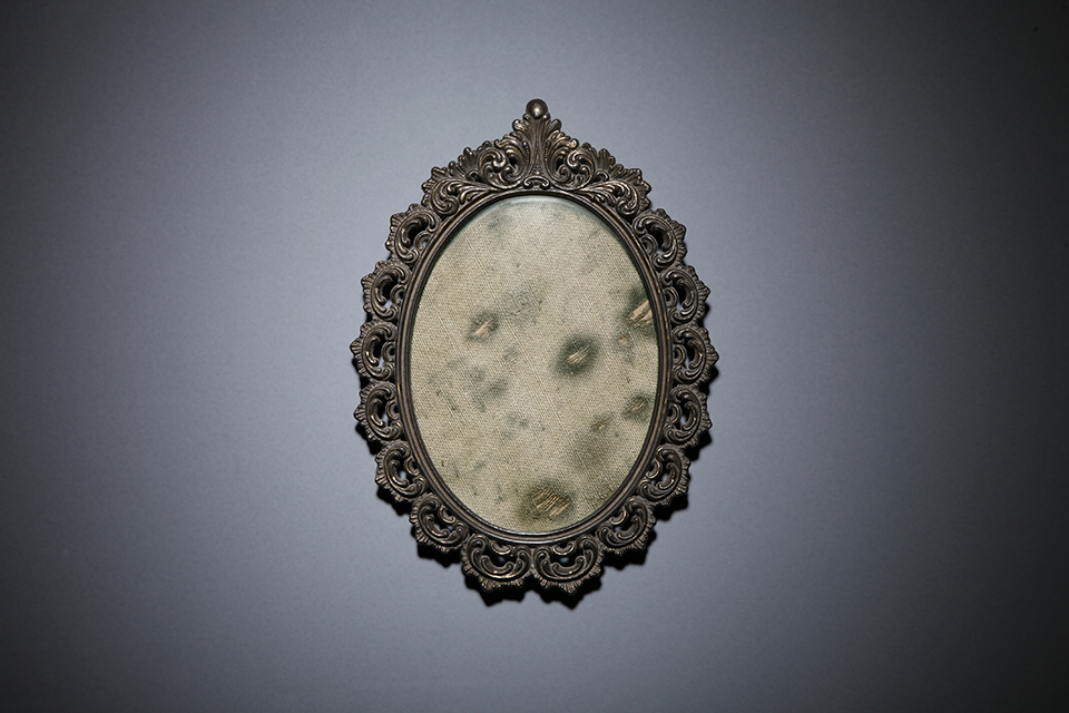 Davide D'Elia, 'S. Arcangelo', 2005, moldy canvas in vintage frame. Private collection. Photo: Delfina Todisco. Image courtesy the artist.
