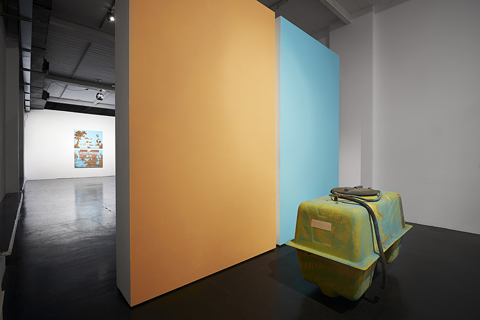 "Davide D'Elia, ""Limbo's Lingo"", installation view, intervention of antifouling paint on vintage painting and objects, verdigris machine, at Ottozoo, Milan, 2016. Photo: M3S Produzioni fotografiche Roma. Image courtesy Bibo's Place Todi / Ottozoo."