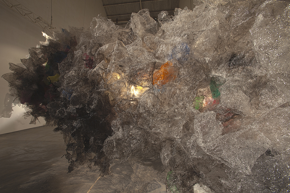 Aaditi Joshi, 'Untitled' (detail), 2011, fused plastic bags, acrylic paint, on wooden and acrylic base, 110 x 94 x 432 in. Image courtesy the artist and Gallery Maskara.