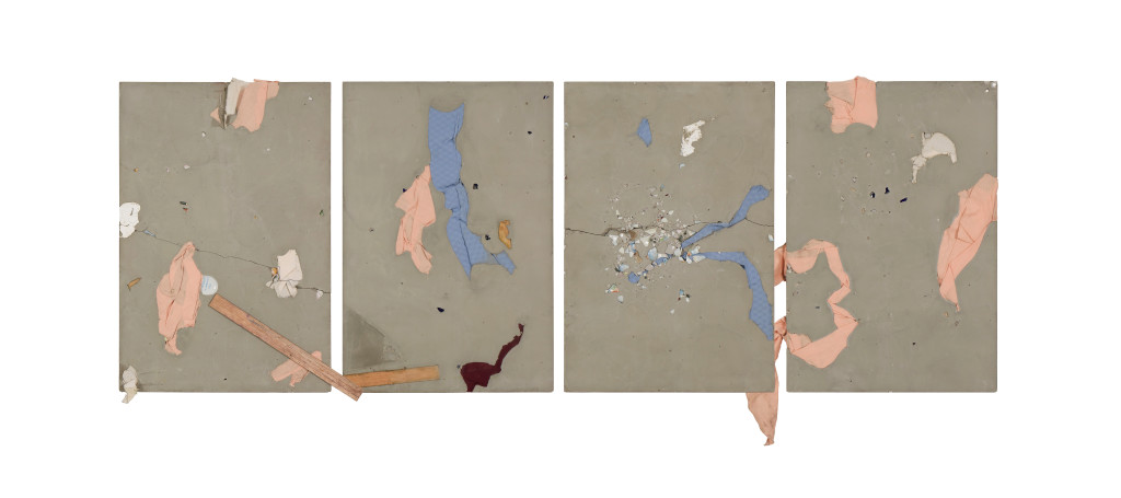 Untitled, 2015. Concrete and mixed media mounted on board. 102 x 249 cm. Image courtesy of the artist