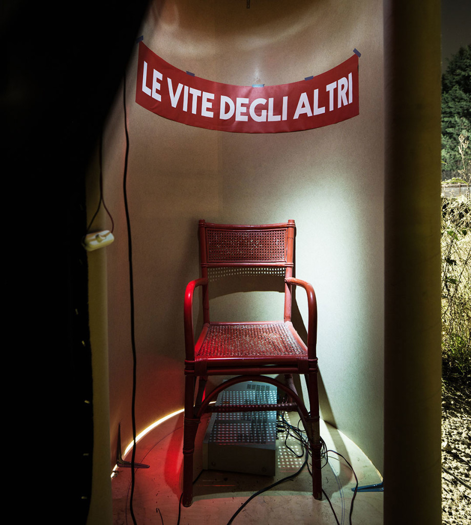 Corrado Sassi, 'La vita degli altri', 2014, wooden booth, radio system, performance and installation. Photo: altrospazio. Image courtesy There Is No Place Like Home.