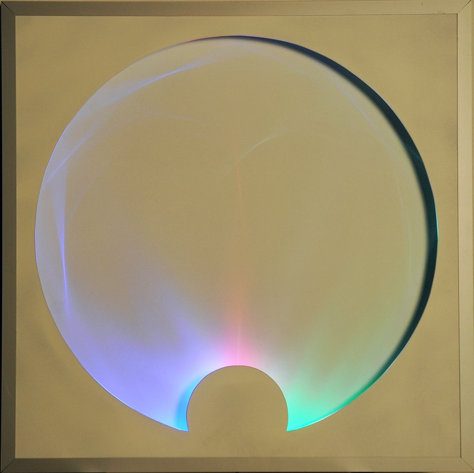 Franco Costalonga, 'Onde Gravitazionali', 2014, mixed media with light bulbs, 31.5 x 31.5 in. Image courtesy the artist and GR Gallery, New York.
