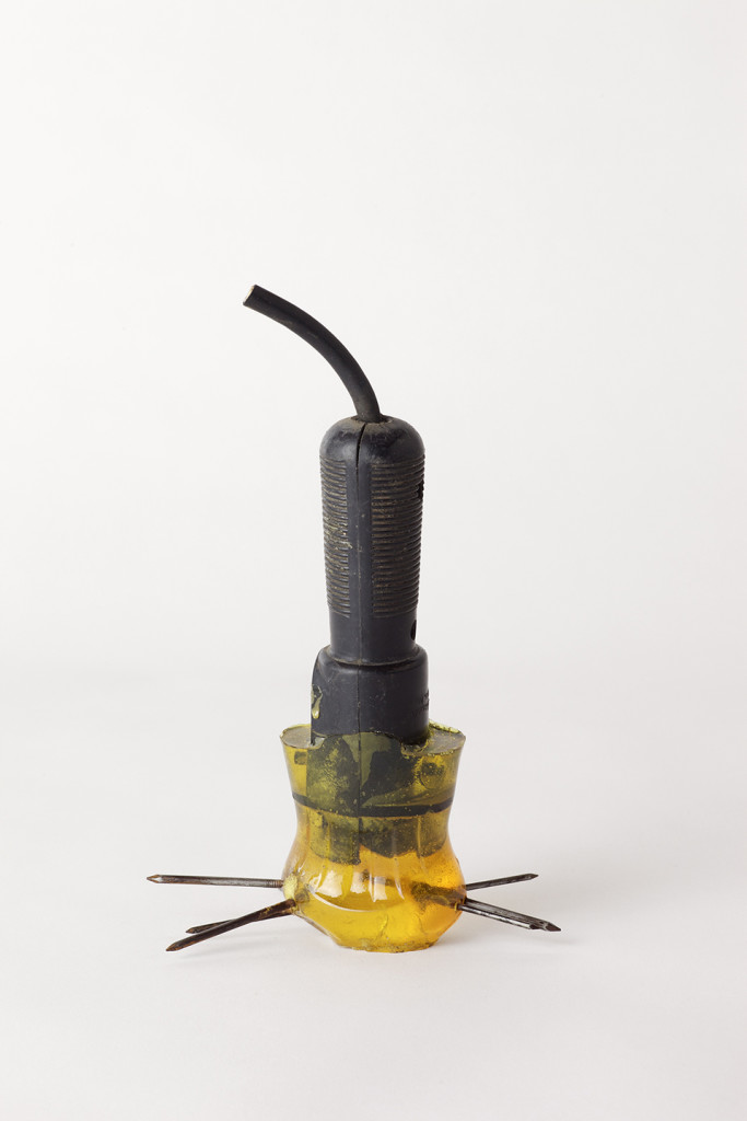 Harry Dodge, 'Emergency Weapon #8 (electric work light and yellow)', 2002, worklamp handle with cord, nails, urethane resin. Image courtesy the artist and The Approach, London.