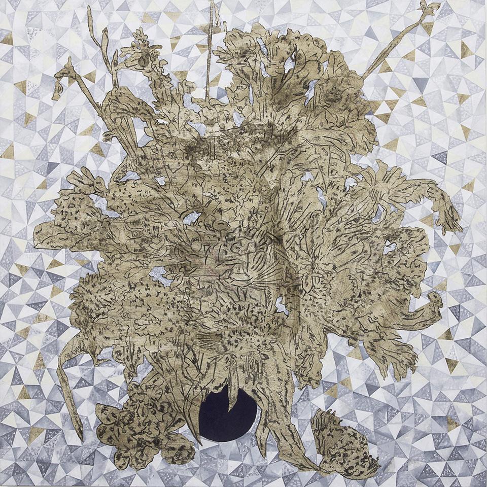 Cinga Samson, Ivumba Letyatyambo 3 (2016), Oil and charcoal on canvas, 150 x 150cm